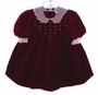 "<img src=""https://p11.secure.hostingprod.com/@grammies-attic.com/ssl/images/blue-sold-1.gif""> Polly Flinders Burgundy Velvet Baby Dress with Embroidered Pink Roses"
