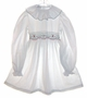 "<img src=""https://p11.secure.hostingprod.com/@grammies-attic.com/ssl/images/blue-sold-1.gif""> Polly Flinders White Dotted Little Girls Smocked Dress with Red and Green Embroidery"