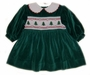 "<img src=""https://p11.secure.hostingprod.com/@grammies-attic.com/ssl/images/blue-sold-1.gif""> Polly Flinders Green Velvet Smocked Baby Dress with Embroidered Christmas Trees"