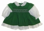 "<img src=""https://p11.secure.hostingprod.com/@grammies-attic.com/ssl/images/blue-sold-1.gif""> Polly Flinders Green Smocked Dress with White Dotted Sleeves and Ruffle for Babies and Toddlers"