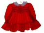 "<img src=""https://p11.secure.hostingprod.com/@grammies-attic.com/ssl/images/blue-sold-1.gif""> Polly Flinders Red Ruffled Smocked Dress with Embroidered Flowers"