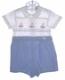"<img src=""https://p11.secure.hostingprod.com/@grammies-attic.com/ssl/images/blue-sold-1.gif""> Paul E Flinders Blue and White Smocked Romper with Sailboat Embroidery"