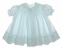 "<img src=""https://p11.secure.hostingprod.com/@grammies-attic.com/ssl/images/blue-sold-1.gif""> Vintage 1950s Polly Flinders Pale Aqua Smocked Bishop Style Baby Dress with White Collar"