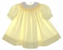 "<img src=""https://p11.secure.hostingprod.com/@grammies-attic.com/ssl/images/blue-sold-1.gif""> Vintage 1960s Polly Flinders Pale Yellow Smocked Bishop Style Baby Dress with Eyelet Collar"