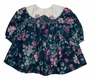"<img src=""https://p11.secure.hostingprod.com/@grammies-attic.com/ssl/images/blue-sold-1.gif""> Polly Flinders Teal Flowered Baby Dress with Pink Ribbon Roses"