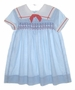 "<img src=""https://p11.secure.hostingprod.com/@grammies-attic.com/ssl/images/blue-sold-1.gif""> Polly Flinders Blue Dotted Smocked Sailor Dress with Red Embroidery"