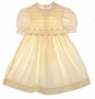 "<img src=""https://p11.secure.hostingprod.com/@grammies-attic.com/ssl/images/blue-sold-1.gif""> Polly Flinders Pale Yellow Smocked Dress with Embroidered Yellow Flowers with Short or Long Sleeves"