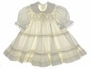 "<img src=""https://p11.secure.hostingprod.com/@grammies-attic.com/ssl/images/blue-sold-1.gif""> Vintage 1960s Polly Flinders Cream Smocked Dress with Ruffles and Lace"