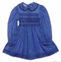 "<img src=""https://p11.secure.hostingprod.com/@grammies-attic.com/ssl/images/blue-sold-1.gif""> Polly Flinders Blue Dotted Smocked Dress with Black Trimmed Collar"