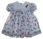 "<img src=""https://p11.secure.hostingprod.com/@grammies-attic.com/ssl/images/blue-sold-1.gif""> NEW Polly Flinders Blue and White Striped Dress with Cherries with Matching Pantaloons"
