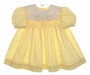 "<img src=""https://p11.secure.hostingprod.com/@grammies-attic.com/ssl/images/blue-sold-1.gif""> Polly Flinders Yellow Dotted Smocked Baby Dress with Embroidered Bunnies"