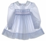 "<img src=""https://p11.secure.hostingprod.com/@grammies-attic.com/ssl/images/blue-sold-1.gif""> Polly Flinders Pale Blue Smocked Toddler Dress with Embroidered Collar"