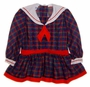 "<img src=""https://p11.secure.hostingprod.com/@grammies-attic.com/ssl/images/blue-sold-1.gif""> Polly Flinders Navy and Red Plaid Sailor Dress with Dropped Waist"
