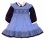 "<img src=""https://p11.secure.hostingprod.com/@grammies-attic.com/ssl/images/blue-sold-1.gif""> Polly Flinders Blue Pinafore Style Smocked Little Girls Dress with Navy Flowered Sleeves"