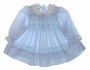 "<img src=""https://p11.secure.hostingprod.com/@grammies-attic.com/ssl/images/blue-sold-1.gif""> Polly Flinders Pale Blue Smocked Baby Dress with Lace Edged Collar"