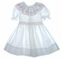 "<img src=""https://p11.secure.hostingprod.com/@grammies-attic.com/ssl/images/blue-sold-1.gif""> Polly Flinders White Eyelet Smocked Toddler Dress with Pink Flowered Collar"