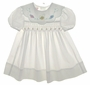 "<img src=""https://p11.secure.hostingprod.com/@grammies-attic.com/ssl/images/blue-sold-1.gif""> Polly Flinders White Smocked Toddler Dress with Pastel Satin Roses"