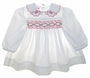 "<img src=""https://p11.secure.hostingprod.com/@grammies-attic.com/ssl/images/blue-sold-1.gif""> Polly Flinders White Dotted Smocked Baby Dress with Embroidered Rosebuds and Bows"