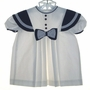 "<img src=""https://p11.secure.hostingprod.com/@grammies-attic.com/ssl/images/blue-sold-1.gif""> Polly Flinders White and Navy Blue Pleated Sailor Dress"