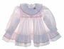 "<img src=""https://p11.secure.hostingprod.com/@grammies-attic.com/ssl/images/blue-sold-1.gif""> Polly Flinders White Dotted Smocked Ruffled Dress with Heart Embroidery"