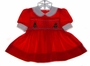"<img src=""https://p11.secure.hostingprod.com/@grammies-attic.com/ssl/images/blue-sold-1.gif""> Polly Flinders Red Smocked Baby Dress with Embroidered Christmas Trees"