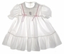 "<img src=""https://p11.secure.hostingprod.com/@grammies-attic.com/ssl/images/blue-sold-1.gif""> Polly Flinders White Smocked Toddler Dress with Lace and Pink Ribbons"
