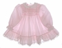 "<img src=""https://p11.secure.hostingprod.com/@grammies-attic.com/ssl/images/blue-sold-1.gif""> Polly Flinders Pink Smocked Baby Dress with Lacy Ruffled Hem"
