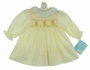 "<img src=""https://p11.secure.hostingprod.com/@grammies-attic.com/ssl/images/blue-sold-1.gif""> NEW Polly Flinders Yellow Smocked Dress with Embroidered Teddy Bears"