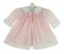 "<img src=""https://p11.secure.hostingprod.com/@grammies-attic.com/ssl/images/blue-sold-1.gif""> Polly Flinders Pink Smocked Dress and Coat Set with Rosebud Embroidery"