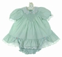 "<img src=""http://site.grammies-attic.com/images/blue-sold-1.gif""> Polly Flinders Green Smocked Dress with Lace and Ruffles and Matching Diaper Cover"