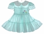 "<img src=""https://p11.secure.hostingprod.com/@grammies-attic.com/ssl/images/blue-sold-1.gif""> Polly Flinders Dotted Smocked Toddler Dress with Pastel Embroidered Tulips in Aqua or Pink"