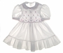 "<img src=""https://p11.secure.hostingprod.com/@grammies-attic.com/ssl/images/blue-sold-1.gif""> Polly Flinders White Dotted Smocked Toddler Dress with Embroidered Pink Flowers"