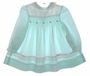 "<img src=""https://p11.secure.hostingprod.com/@grammies-attic.com/ssl/images/blue-sold-1.gif""> Polly Flinders Pale Green Smocked Baby Dress with Eyelet Yoke"