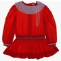 "<img src=""https://p11.secure.hostingprod.com/@grammies-attic.com/ssl/images/blue-sold-1.gif""> Polly Flinders Red Dotted Smocked Toddler Dress with Dropped Waist and Eyelet Trim"