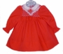 Polly Flinders Red Smocked Baby Dress with White Collar