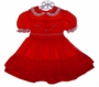 "<img src=""https://p11.secure.hostingprod.com/@grammies-attic.com/ssl/images/blue-sold-1.gif""> Polly Flinders Red Smocked Toddler Dress with Ruffled Hem and Lace Edged Collar"