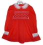"<img src=""https://p11.secure.hostingprod.com/@grammies-attic.com/ssl/images/blue-sold-1.gif""> Flinders Red Smocked Little Girls Dress with White Embroidery"