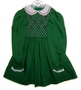 "<img src=""https://p11.secure.hostingprod.com/@grammies-attic.com/ssl/images/blue-sold-1.gif""> Polly Flinders Green Smocked Little Girls Dress with Embroidered Candles"