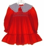 "<img src=""https://p11.secure.hostingprod.com/@grammies-attic.com/ssl/images/blue-sold-1.gif""> Flinders Red Smocked Dress with White Collar"