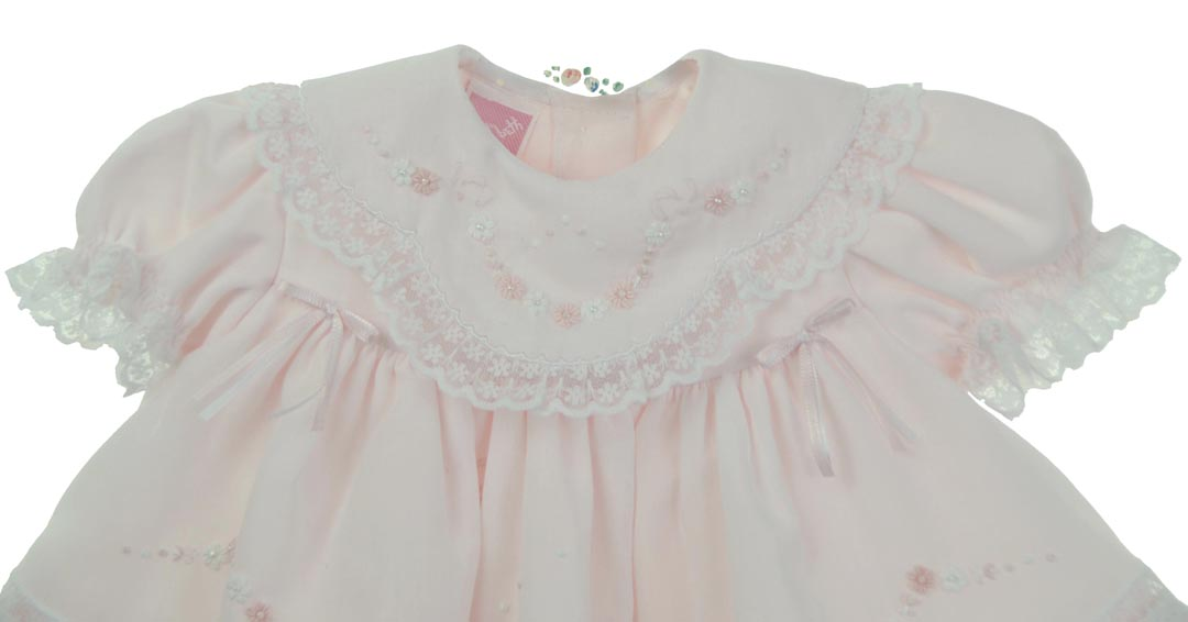 9601b941ebf4 NEW Will'Beth Pink Baby Dress with Lace, Ribbons, Embroidery, and Seed  Pearls