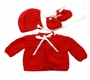 """<img src=""""https://p11.secure.hostingprod.com/@grammies-attic.com/ssl/images/blue-sold-1.gif""""> NEW Red Hand Knit Baby Sweater, Hat, and Booties Set"""