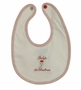 """<img src=""""http://site.grammies-attic.com/images/blue-sold-1.gif""""> NEW Pima Cotton Knit Baby's First Christmas Bib with Santa Embroidery"""
