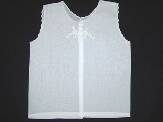 """<img src=""""https://p11.secure.hostingprod.com/@grammies-attic.com/ssl/images/blue-sold-1.gif""""> Vintage 1940s White Diaper Shirt with Madeira Style Embroidery"""