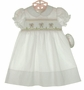 "<img src=""https://p11.secure.hostingprod.com/@grammies-attic.com/ssl/images/blue-sold-1.gif""> NEW Rosalina White Smocked Daygown with Lambs for Baby Girls"