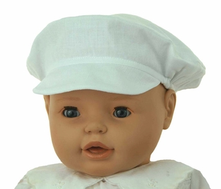 NEW Sarah Louise White Linen Newsboy Style Hat bc50df86850