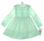 "<img src=""https://p11.secure.hostingprod.com/@grammies-attic.com/ssl/images/blue-sold-1.gif""> NEW Polly Flinders Pale Green Smocked Dress with Lace Trimmed Neckline and Sleeves"