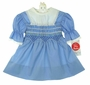 "<img src=""https://p11.secure.hostingprod.com/@grammies-attic.com/ssl/images/blue-sold-1.gif""> NEW Polly Flinders Blue Smocked Dress with White Scalloped Lace Trimmed Portrait Collar"