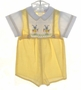 "<img src=""https://p11.secure.hostingprod.com/@grammies-attic.com/ssl/images/blue-sold-1.gif""> NEW Paul E. Flinders Yellow Gingham Smocked Shortall with Embroidered Bunnies"