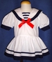 "<img src=""https://p11.secure.hostingprod.com/@grammies-attic.com/ssl/images/blue-sold-1.gif""> Vintage Style White Dropped Waist Sailor Dress for Baby Girls"