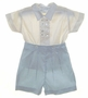 "<img src=""https://p11.secure.hostingprod.com/@grammies-attic.com/ssl/images/blue-sold-1.gif""> NEW Sarah Louise Blue and Ivory Silk Button On Shorts Set with Matching Sailor Hat"